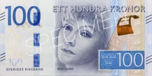 100 schwedische Kronen Geldschein Vorderseite