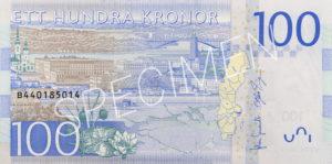 100 schwedische Kronen Geldschein Rückseite
