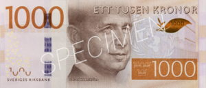 1000 schwedische Kronen Geldschein Vorderseite