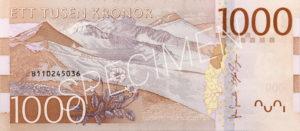 1000 schwedische Kronen Geldschein Banknote Rückseite