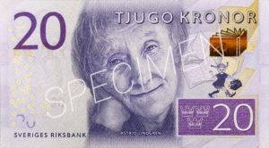 Geldschein 20 schwedische Kronen