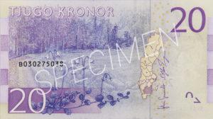 Geldschein 20 schwedische Kronen Geldschein Rückseite