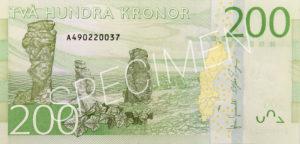 200 schwedische Kronen Geldschein Rückseite
