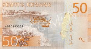 50 schwedische Kronen Geldschein Rückseite