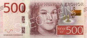 500 schwedische Kronen Geldschein Vorderseite