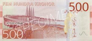 500 schwedische Kronen Geldschein Rückseite