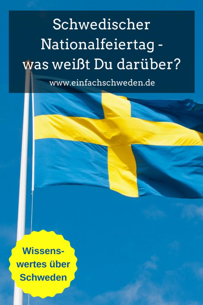 Schwedischer Nationalfeiertag Schweden schwedisch Flagge Fahne blauer Himmel