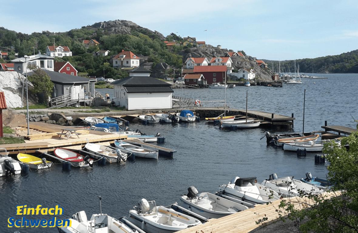 Bohuslän Landschaft Schweden Wasser Boote Hafen KlippenWestküste