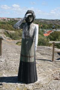 Mollösund Fischer Frau Skulptur Holz Bohuslän Schweden Westküste Sweden Sverige