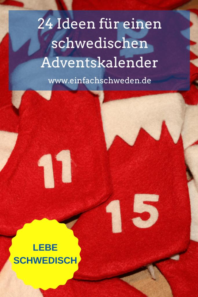 24 Ideen für einen schwedischen Adventskalender, der jedem Schweden-Fan die Wartezeit auf Weihnachten verkürzt. Mit diesen Ideen muss nicht lange überlegt werden, was in die 24 Säckchen gepackt werden kann. #einfachschweden #adventskalender #schwedischeradventskalender #weihnachten #schwedischeweihnachten
