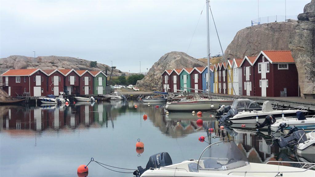 Smögen Schweden Fischerhäuser Wasser Hafen