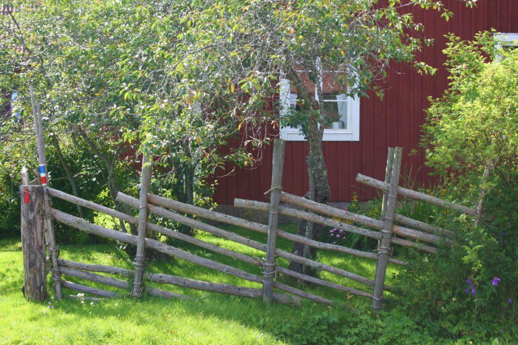 rotes Häuschen weiße Fenster Schweden Zaun Baum Büsche
