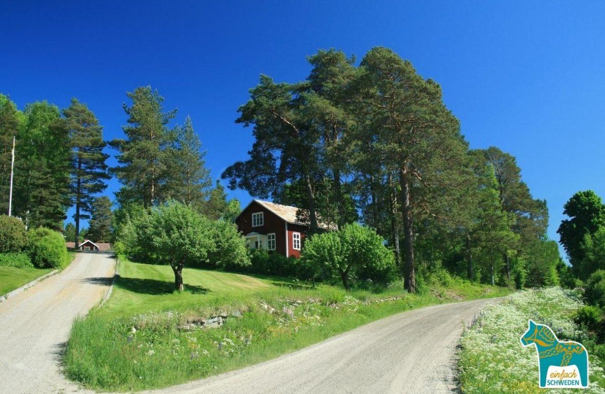 EinfachSchweden Schweden blauer Himmel rotes Haus Urlaub