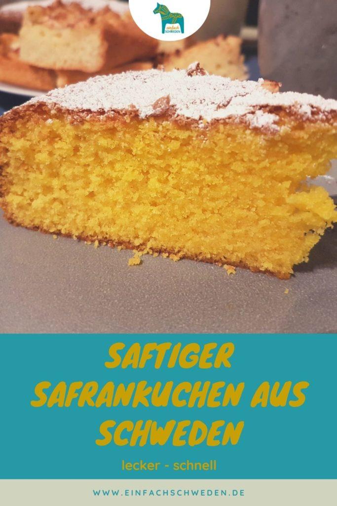 Safran ist in Schweden ein Gewürz, welches gerne zur Weihnachtszeit verwendet wird. Nicht nur in den Lussekatter, sondern auch in anderen Kuchensorten. Dieser saftige Safrankuchen ist ein Rührkuchen, der sehr schnell und leicht zubereitet ist und auch nach Tagen noch sehr lecker schmeckt. #einfachschweden #schwedischeküche #safrankuchen